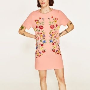 Zara Pink Floral Rubberised Shift Dress